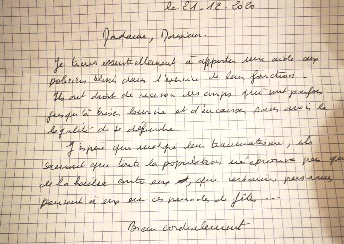 lettre de soutien aux forces de l'ordre